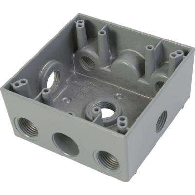 2 Gang Weatherproof Electrical Outlet Box with Seven 1/2 in. Holes (2 holes two sides, 1 hole other sides) - Gray
