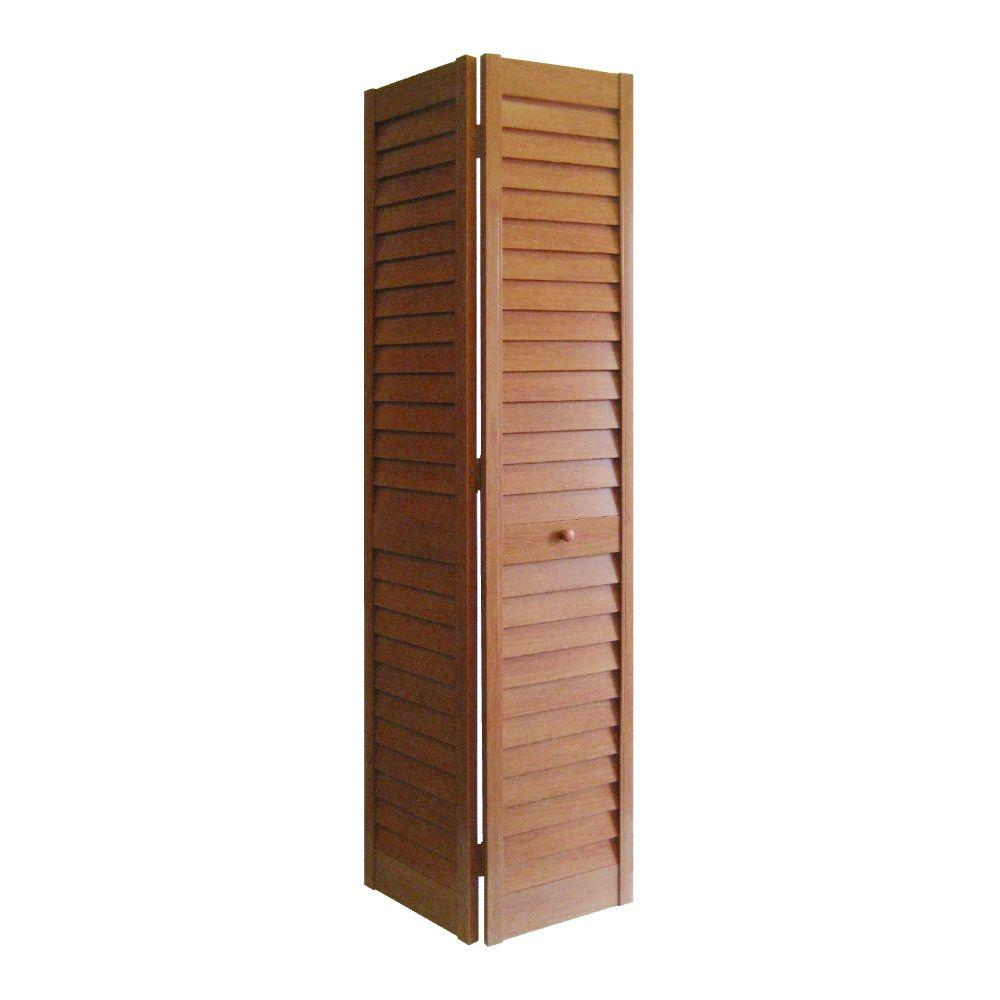 24 in. x 80 in. 3 in. Louver/Louver Golden Oak PVC
