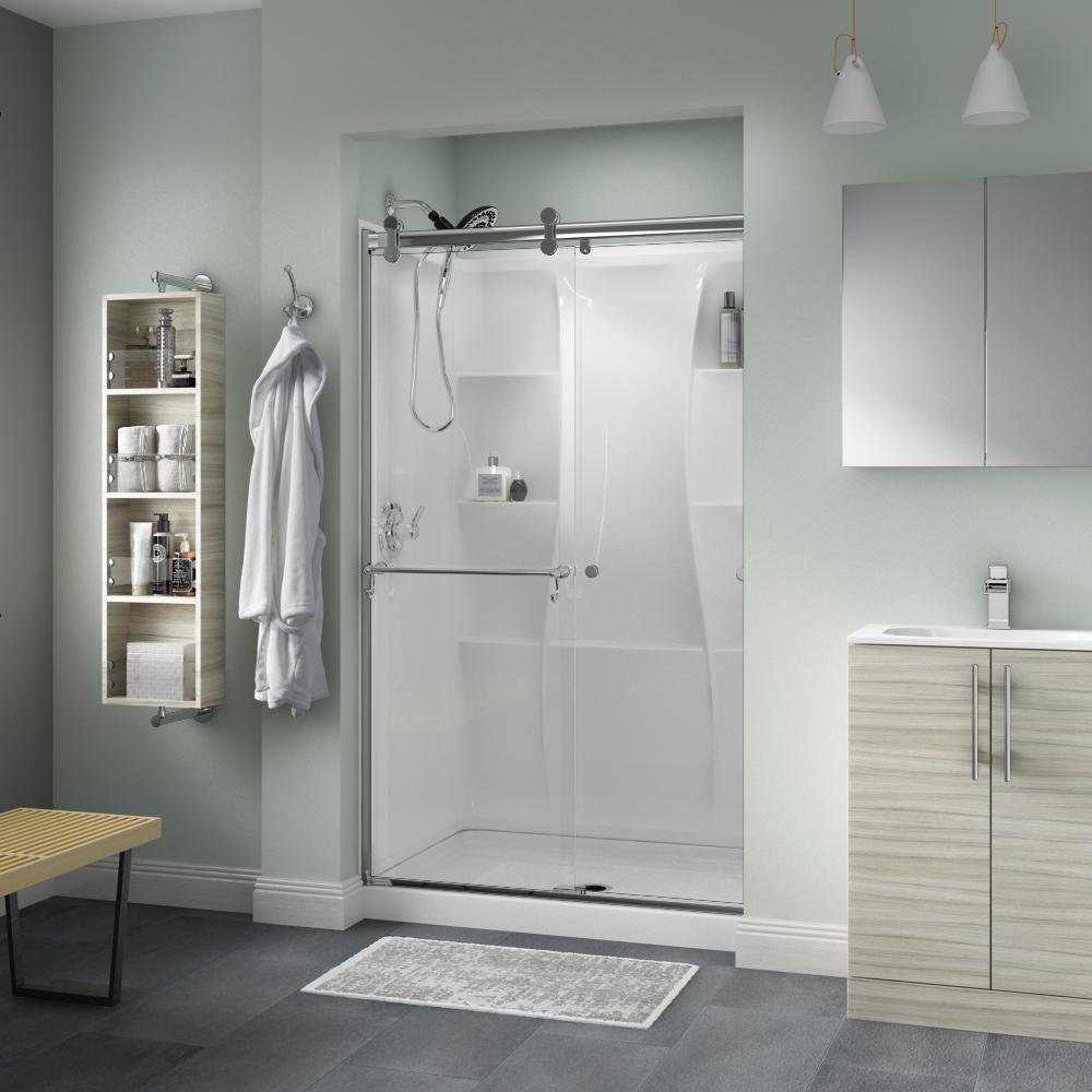 Ordinaire Delta Portman 48 In. X 71 In. Semi Frameless Contemporary Sliding Shower  Door