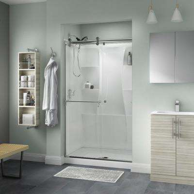 Portman 48 in. x 71 in. Semi-Frameless Contemporary Sliding Shower Door in Chrome with Clear Glass