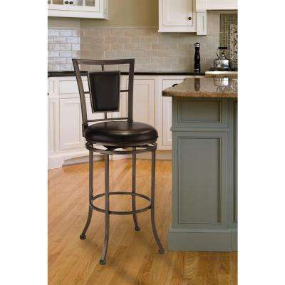 Auckland 30 in. Gray Stone Swivel Cushioned Bar Stool