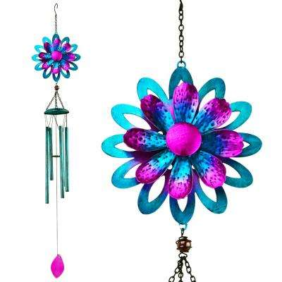 Chime Spinner Metal Flower Blue
