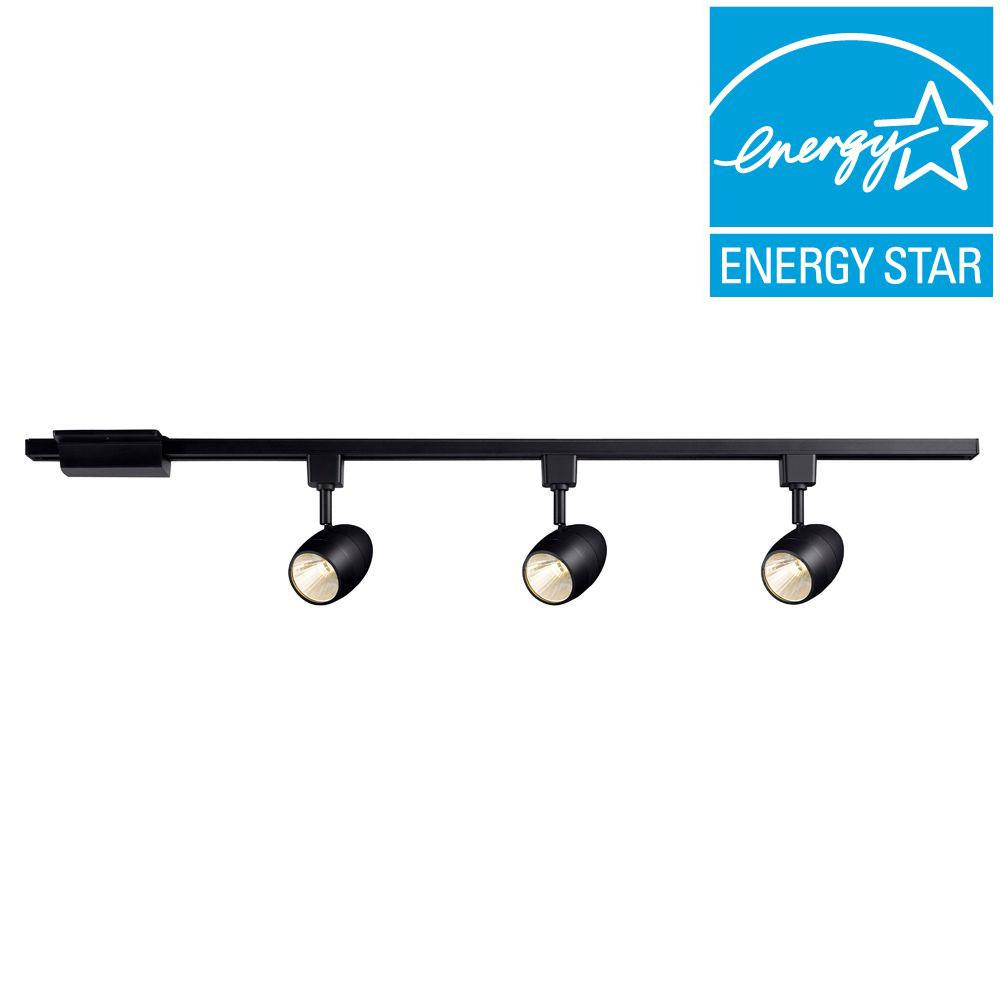 Hampton Bay 39.37 In. 3-Light Black Dimmable LED Track