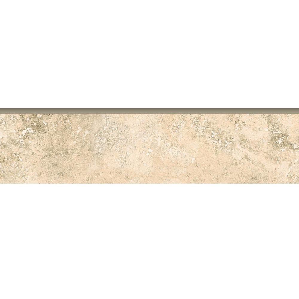 Travertine Beige Bullnose 3 In X 12 In Ceramic Floor And Wall Trim Tile 2030 The Home Depot