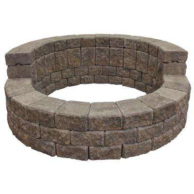 58 in. x 24 in. Concrete Romanstack High Back Fire Pit Kit in Summit Blend