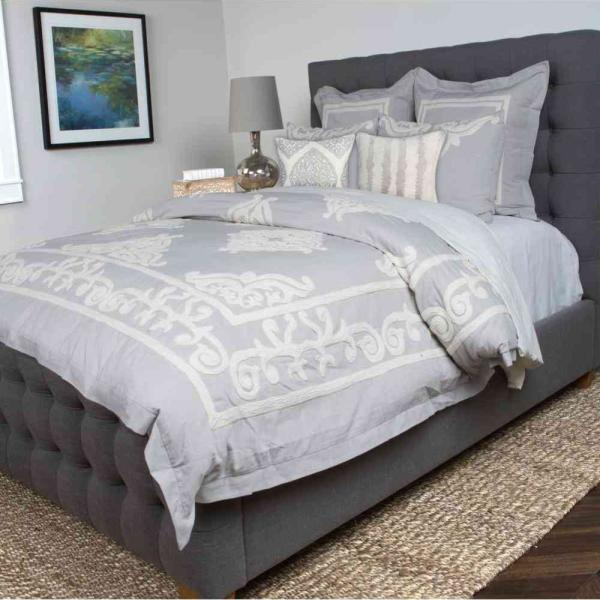 Duvet Covers.Patrina Fog Gray Embroidery Cotton King Duvet Cover