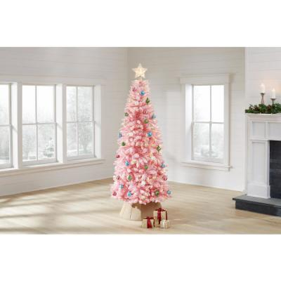 7 ft. Pre-Lit LED Flocked Pink Artificial Christmas Tree with 300-Light Mini Warm White Lights