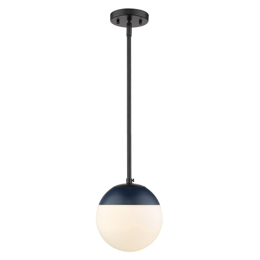 Golden lighting dixon 1 light black with opal glass and navy cap small pendant light