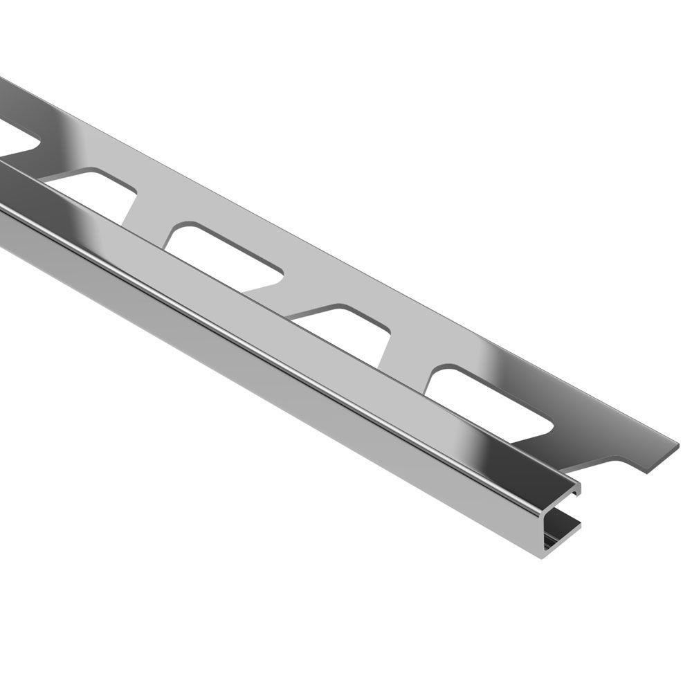 Quadec Stainless Steel 3/8 in. x 8 ft. 2-1/2 in. Metal Square Edge Tile Edging Trim