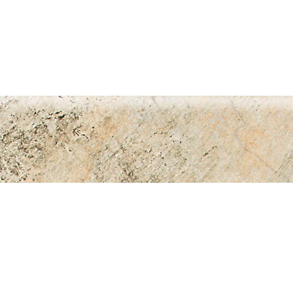 Daltile Franciscan Slate Desert Crema 3 in. x 12 in. Glazed Porcelain Bullnose Floor and Wall Tile (0.24 sq. ft. / piece)