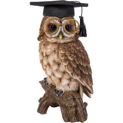 Owl with Glasses and Graduation Cap Statue