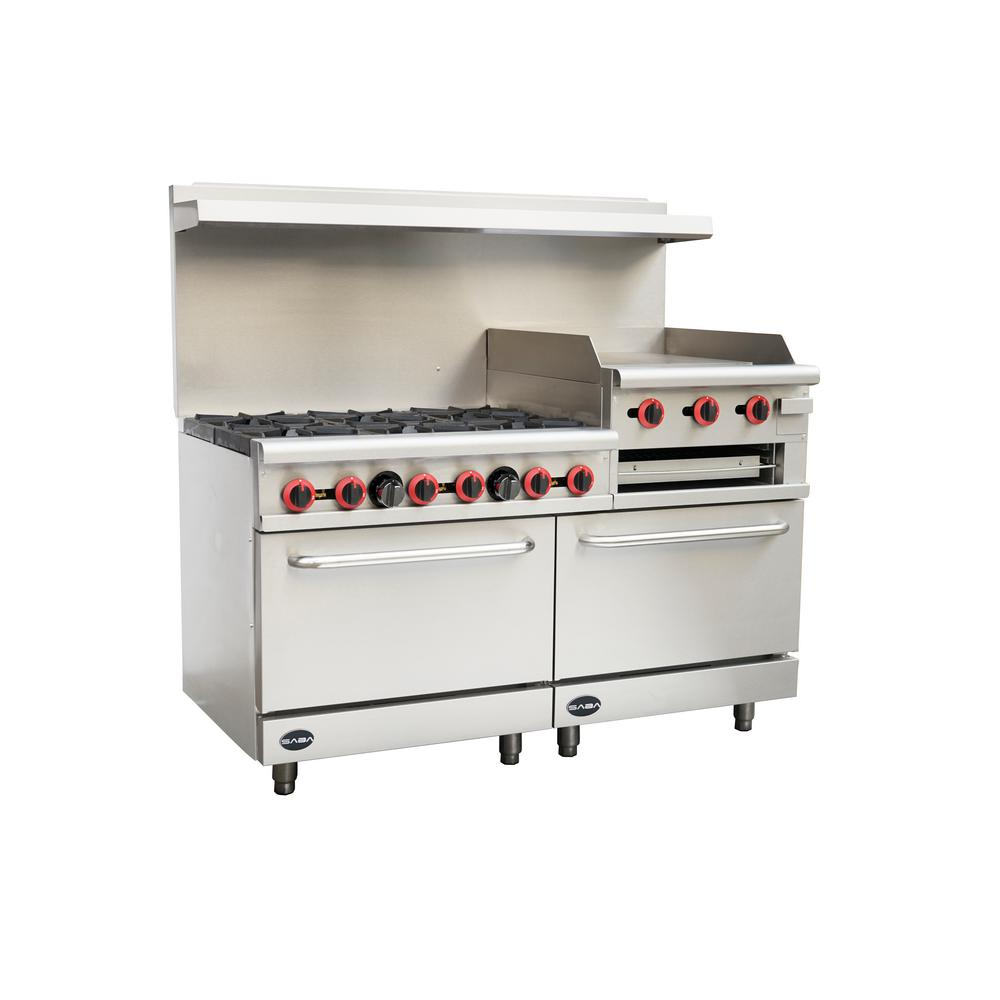 Commercial 6 Burner Double Oven Gas Range And Griddle And Broiler In Stainless Steel