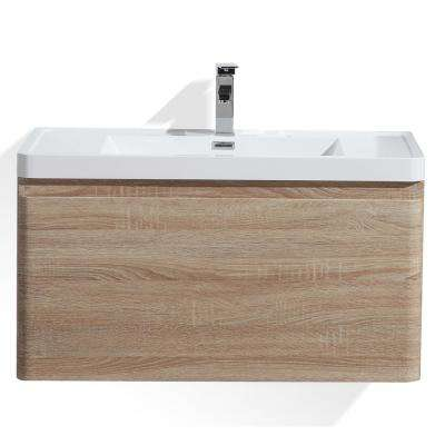 Happy 36 in. W Bath Vanity in White Oak with Reinforced Acrylic Vanity Top in White with White Basin