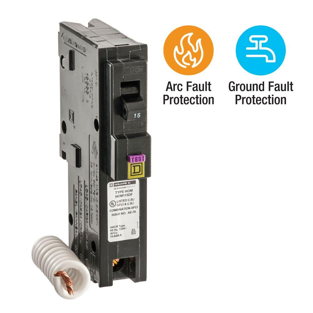 Homeline 15 Amp Single-Pole Dual Function (CAFCI and GFCI) Circuit Breaker
