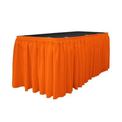 14 ft. x 29 in. Long Orange Polyester Poplin Table Skirt with 10 L-Clips