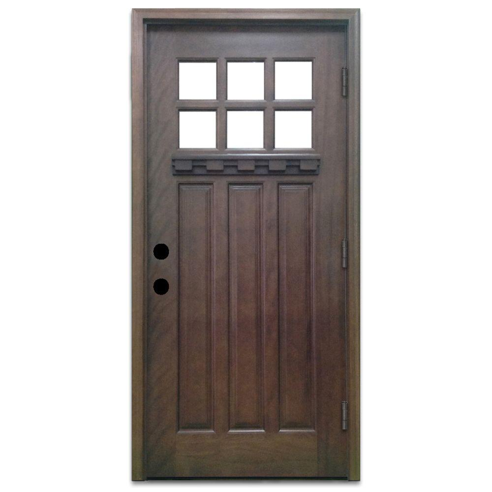 Steves sons 36 in x 80 in craftsman 6 lite stained for Wood and glass front door