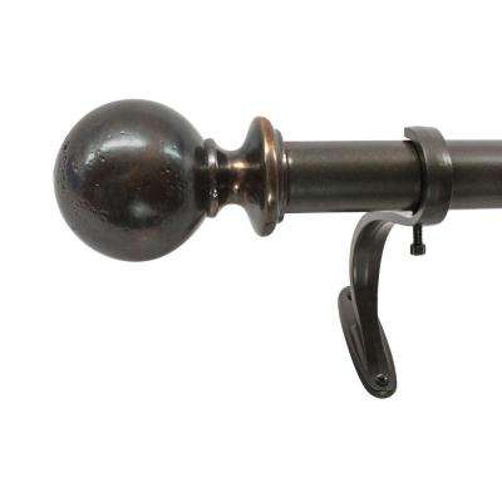 1 in. Vintage Ball Single Rod Set, 35 in. - 66 in. in Antique Brass