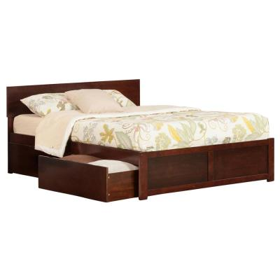 Orlando Walnut King Platform Bed with Flat Panel Foot Board and 2 Urban Bed Drawers