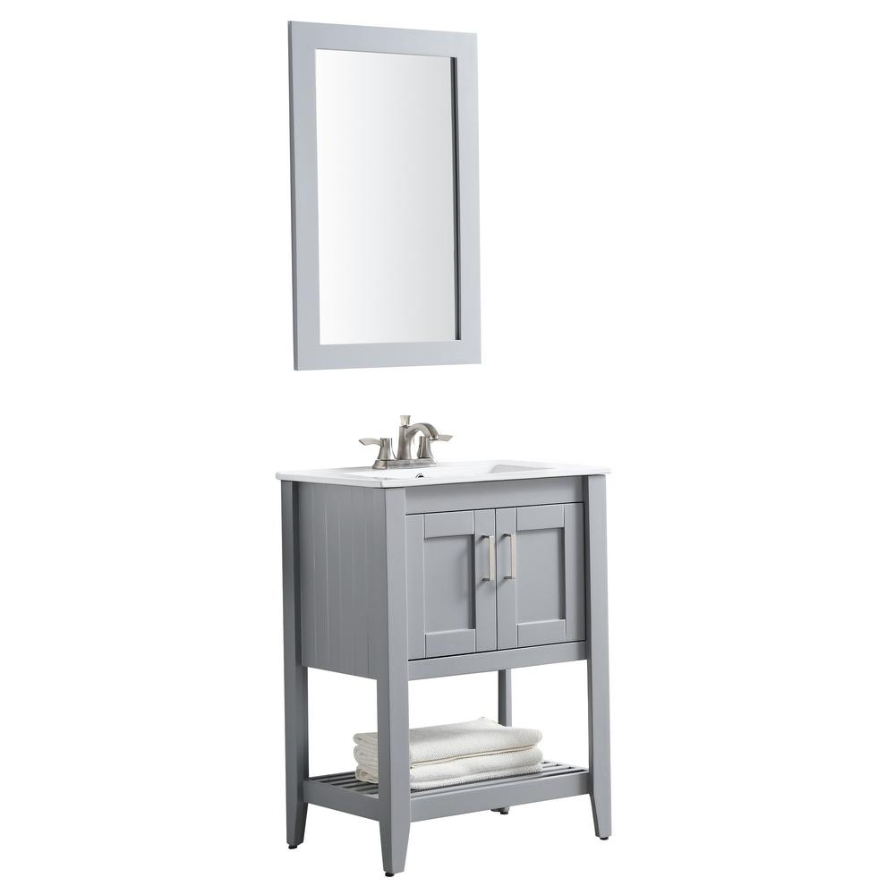 ANZZI Mosset 24 in. W x 34 in. H Bath Vanity in Rich Gray with Ceramic Vanity Top in White with White Basin and Mirror