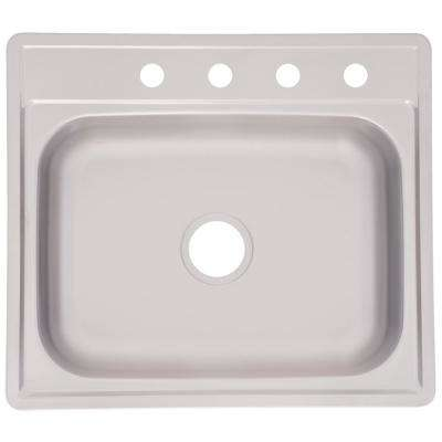 Essentials EZ Clip Install Drop-In Stainless Steel 25 in. 4-Hole Single Bowl Kitchen Sink in Satin Stainless Steel