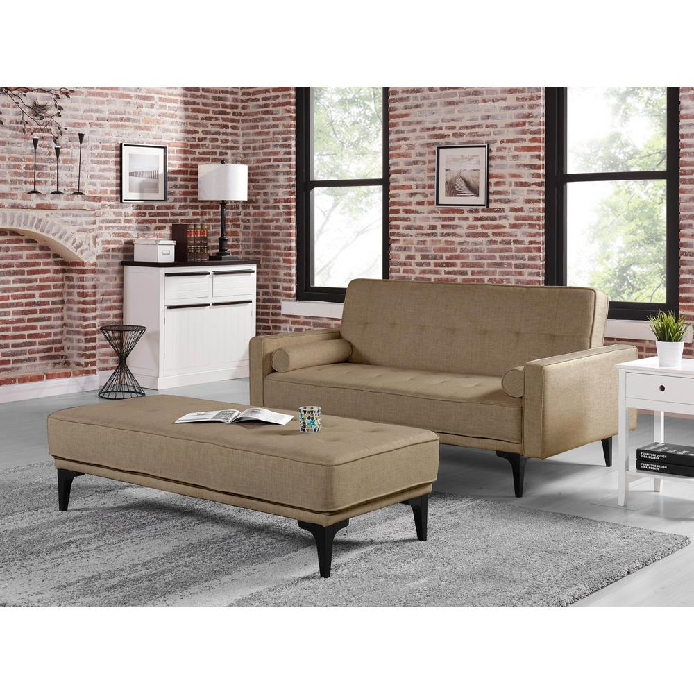 Serta Melanie Medium Brown Convertible Sofa With Ottoman
