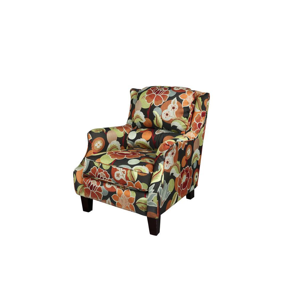 Zoe Pub-Back Multi-Color Floral Accent Chair