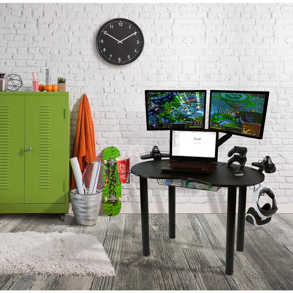 Atlantic Black Gaming Desk 33935701 The Home Depot