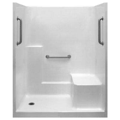 Classic 33 in. x 60 in. x 77 in. 1-Piece Low Threshold Shower Stall in White, Grab Bars, RHS Molded Seat, Left Drain