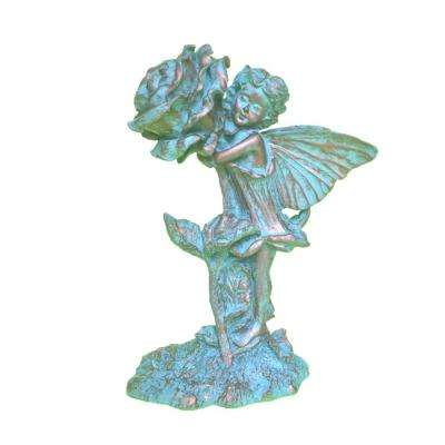 10 in. H Lilian Rose Home Patio and Garden Statue Figurine in Bronze Patina