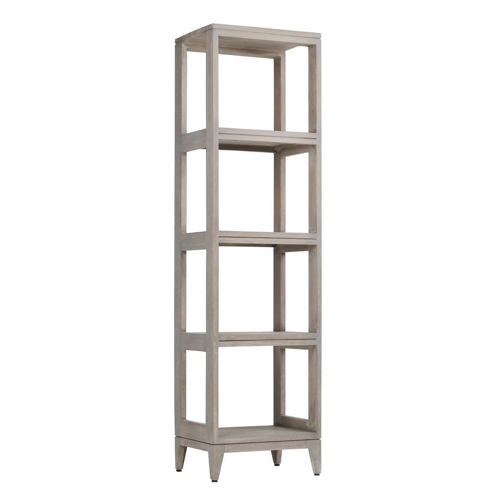 Teak 16 in. W x 13 in. D x 60 in. H Linen Floor Cabinet in Gray Teak