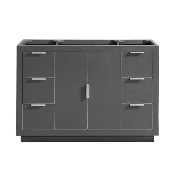 Austen 48 in. W x 21.5 in. D x 34 in. H Bath Vanity Cabinet Only in Twilight Gray with Silver Trim
