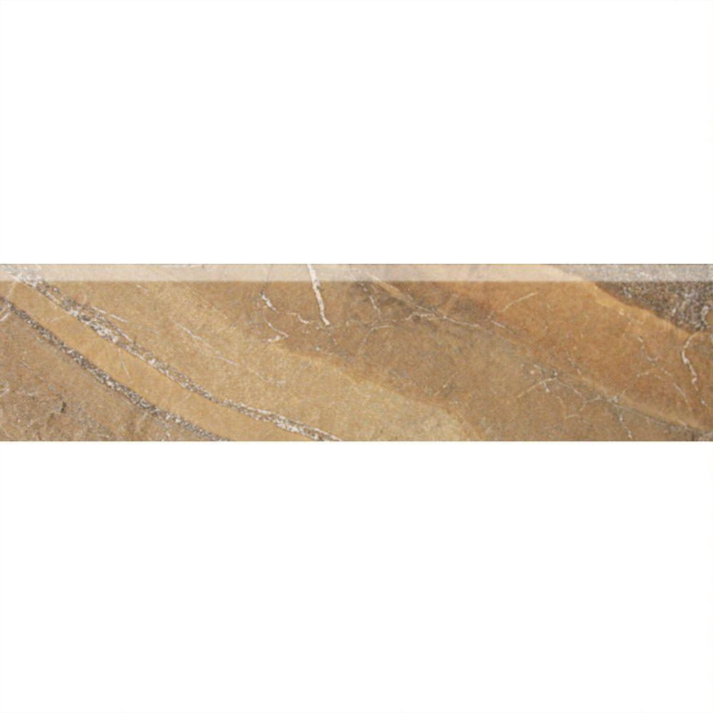 Daltile Ayers Rock Bronzed Beacon 3 in. x 13 in. Glazed Porcelain Bullnose Floor and Wall Tile (0.32 sq. ft. / piece)