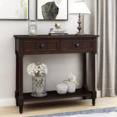 Black Daisy Series Console Table with Two Drawers and Bottom Shelf