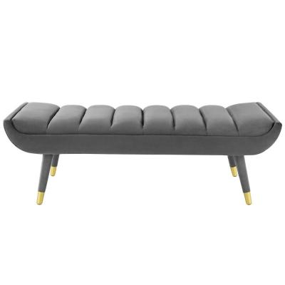 Guess Gray Channel Tufted Performance Velvet Accent Bench