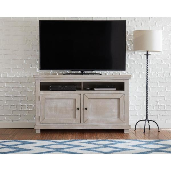 Willow 54 in. Gray Chalk Wood TV Stand Fits TVs Up to 60 in. with Storage Doors