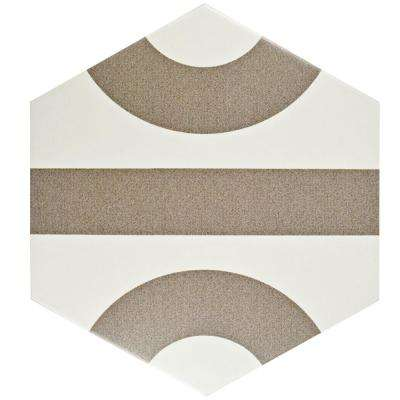 Roll Hex White with Taupe Grey 9-7/8 in. x 11-3/8 in. Porcelain Floor and Wall Tile (10.97 sq. ft. / case)