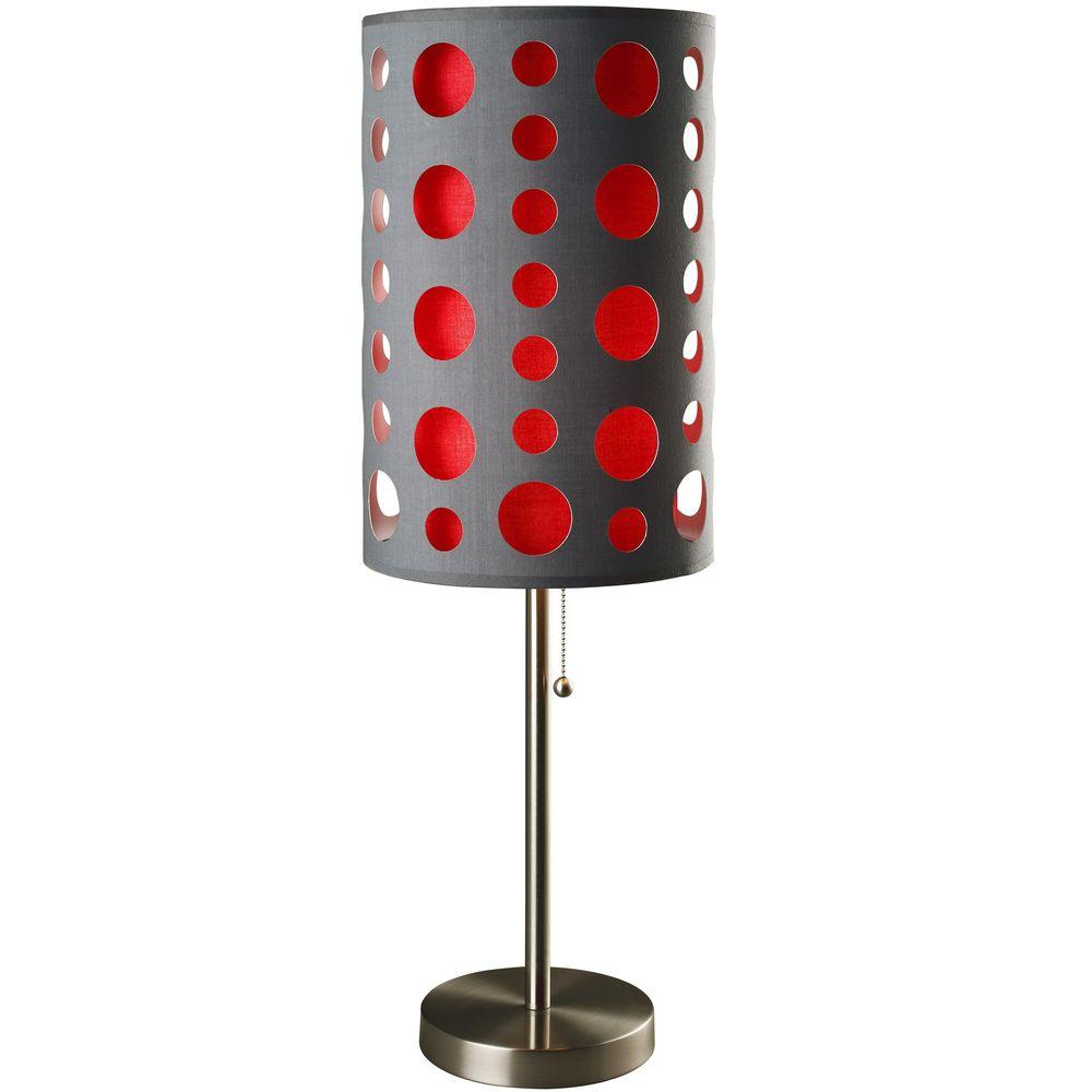 Ore international 33 in grey and red stainless steel high modern grey and red stainless steel high modern retro table lamp aloadofball Choice Image