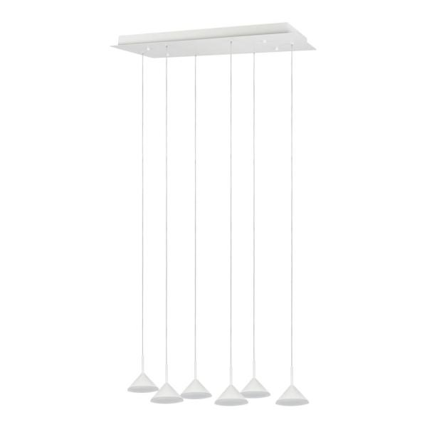 28.8-Watt 6-Light White Integrated LED Pendant with Glass Shade