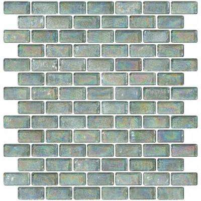 12 in. x 12 in. x 8 mm Tile'ESQUE Aqua Iridescent Glass Subway Mesh-Mounted Mosaic Tile
