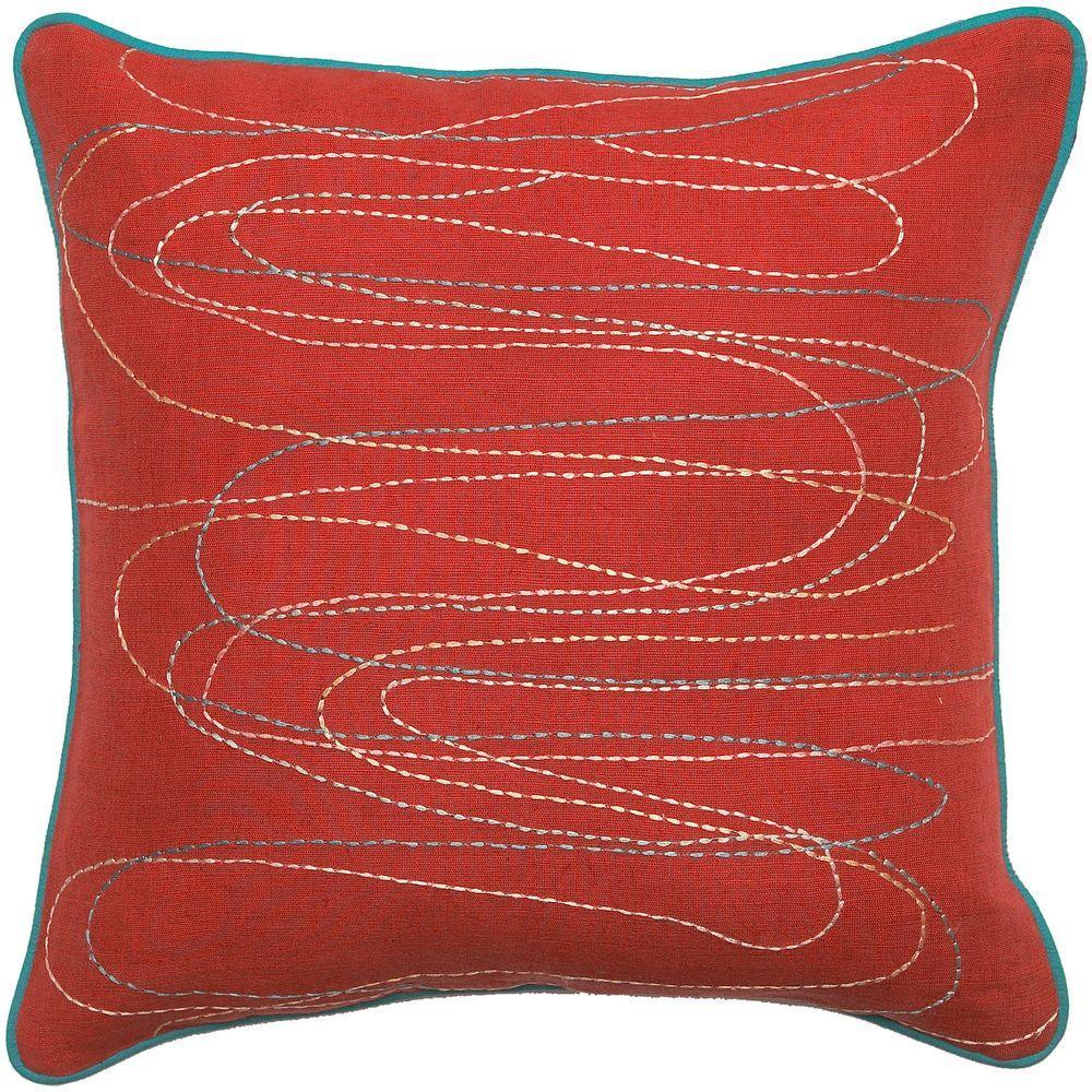 StitchedA 18 in. x 18 in. Decorative Down Pillow