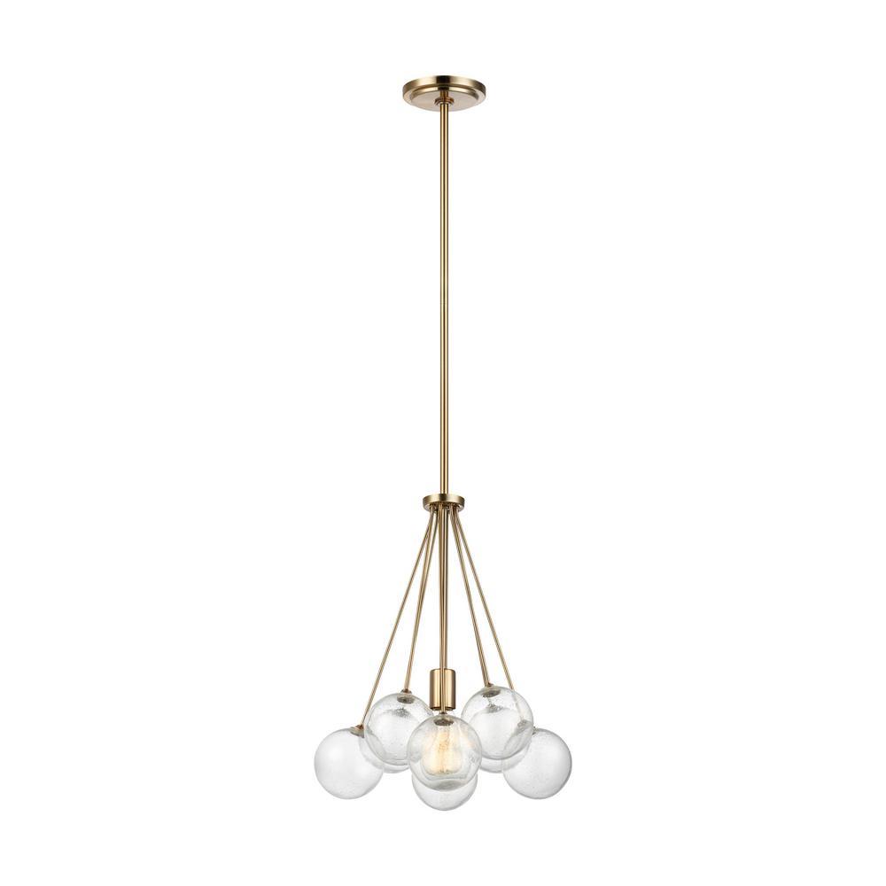 Bronzeville 1-Light Satin Brass Pendant with Seeded Glass Globes
