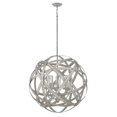 Carson Large 5-Light Weathered Zinz Outdoor Hanging Orb Chandelier