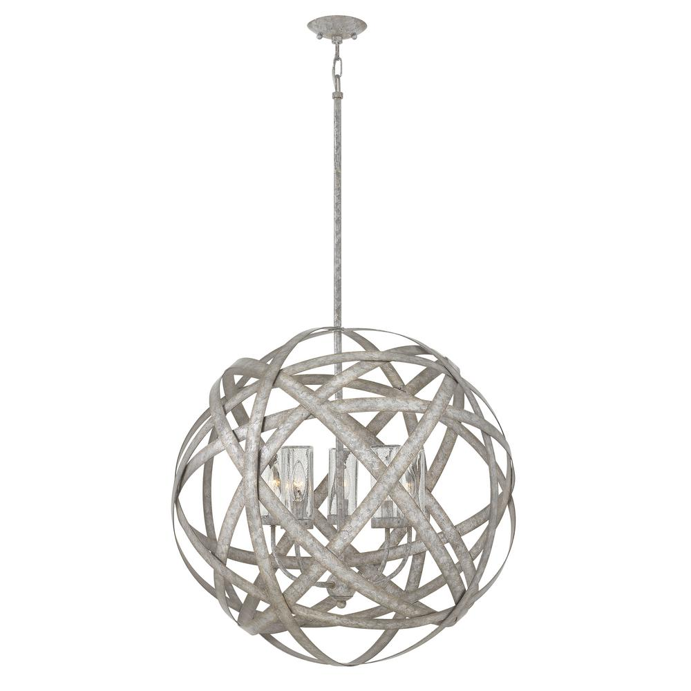 Carson 5 Light Weathered Zinc LED Outdoor Hanging Orb Chandelier