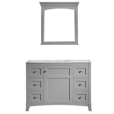 Arezzo 48 in. W x 22 in. D x 36 in. H Vanity in Grey with Marble Vanity Top in Carrara White with White Basin and Mirror
