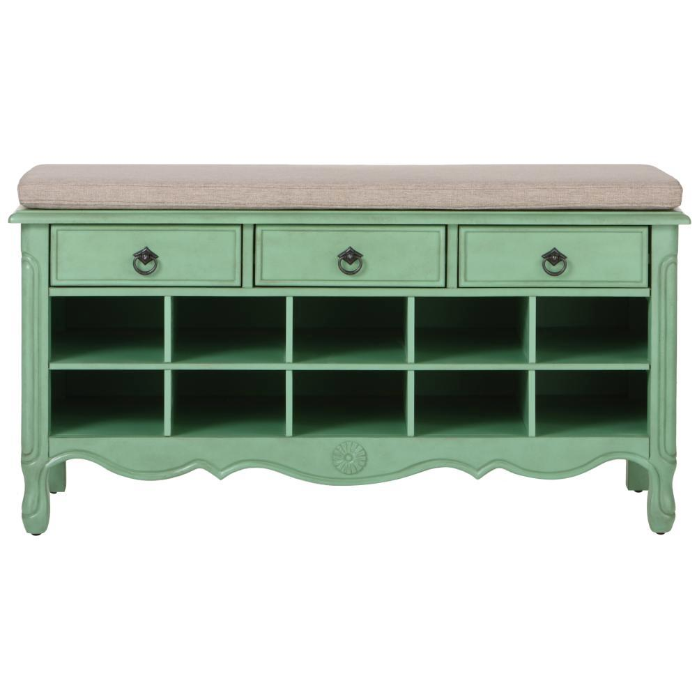 Home Decorators Collection Keys 20 in. H Aquamarine Shoe Storage Cabinet