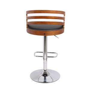 Ac Pacific Modern Pu Leather Adjule Swivel Bar Stool With Wooden Back Black