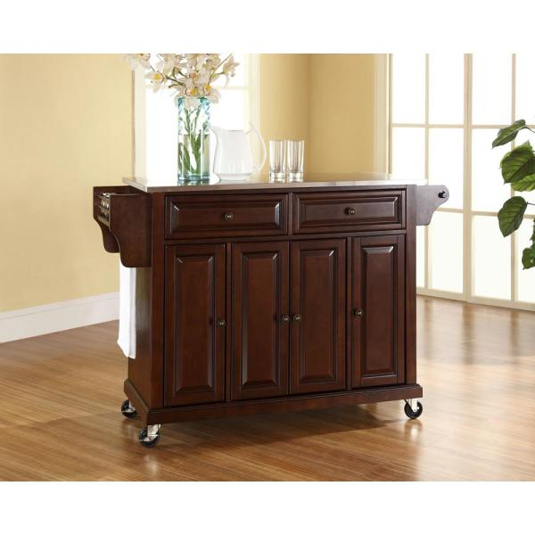 Crosley Mahogany Kitchen Cart With Stainless Steel Top