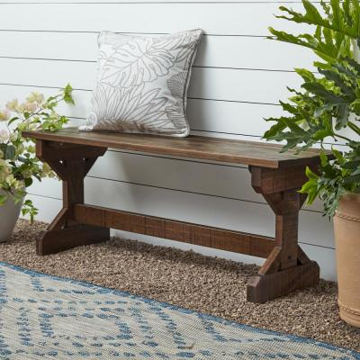 Farmhouse 2-Person Wood Outdoor/Indoor Bench