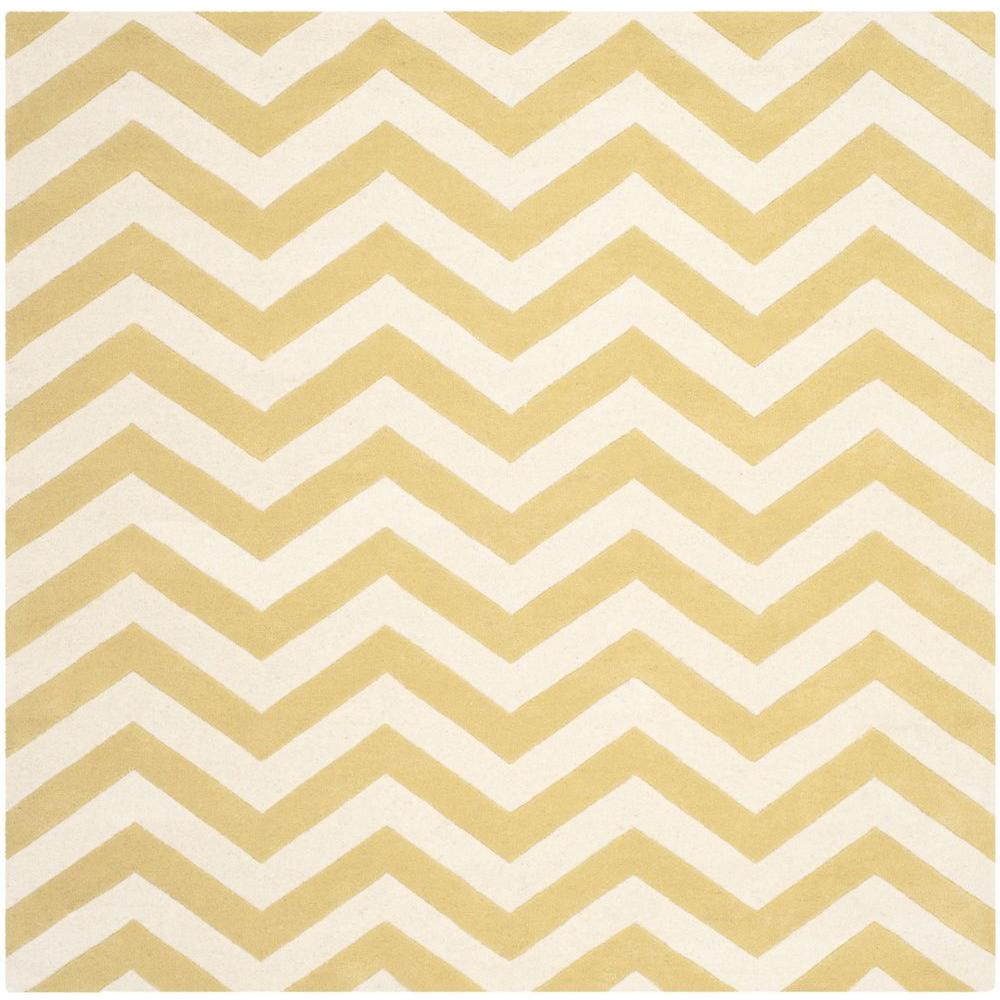 Safavieh Chatham Light Gold/Ivory 5 ft. x 5 ft. Square Area Rug