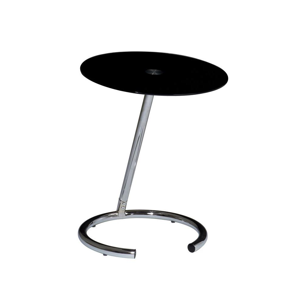 Ave Six Yield Chrome and Black Glass Top End Table